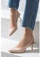 Elle İnce Topuklu Sivri Burun Ayakkabı Bej